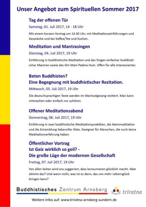 Unser Programm zum Spirituellen Sommer 2017